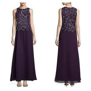 NEW J KARA Beaded Popover Waist Plum Gown w/ Wrap